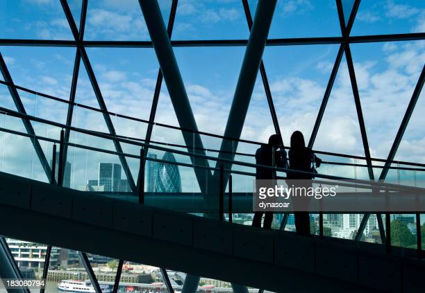 Couple silhouetted against London skyline