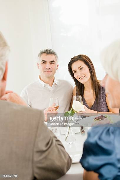Couple sitting at restaurant