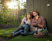 Couple sitting in allotment