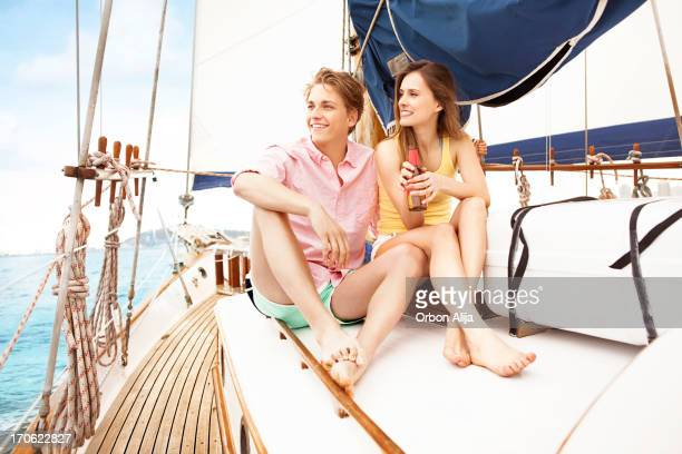 Couple sitting on the Deck of a Yacht