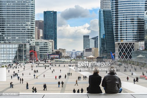 Couple sitting watching the city