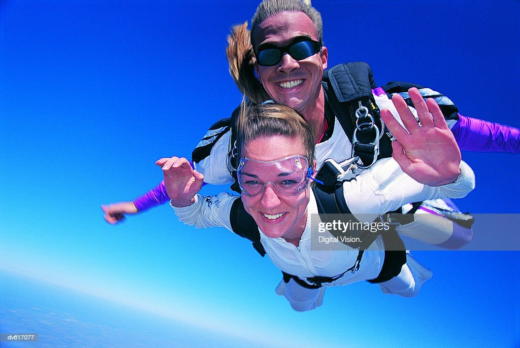 Couple Skydiving : Stock Photo