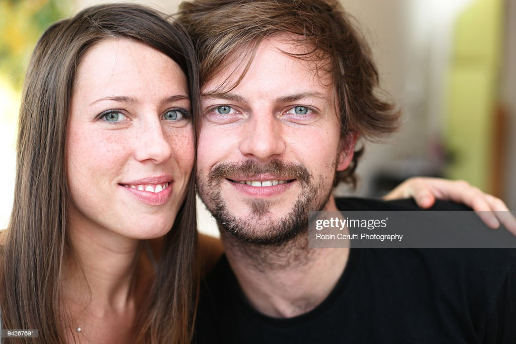 Couple smiling at breakfast : Stock Photo