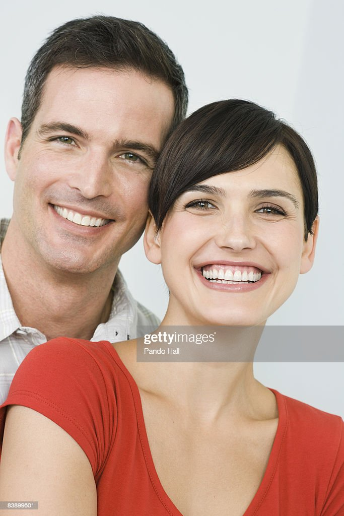 Couple smiling, close-up  : Stock Photo