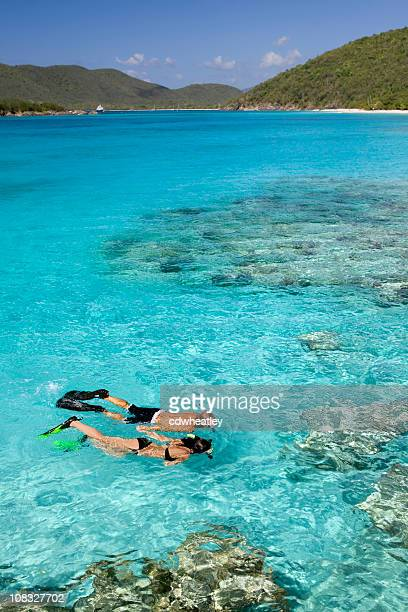 couple snorkeling at the Caribbean coral reef
