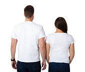 Rear View Of A Young Couple Standing On White Background