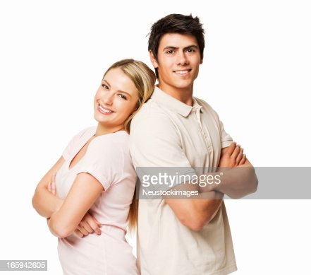 Couple Standing With Backs to One Another - Isolated