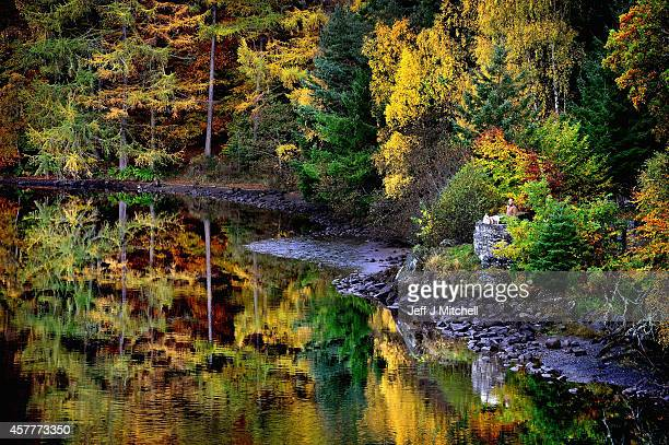 A couple stops to take a picture of the autumn colours at Loch Faskally on October 24 2014 in Pitlochry Scotland Forecasters have predicted the warm...