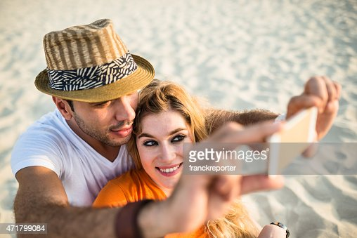 couple take a selfie togetherness
