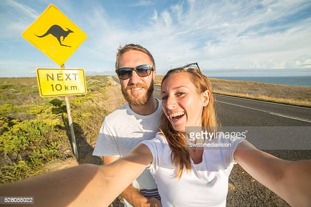 Couple take selfie portrait in Australia