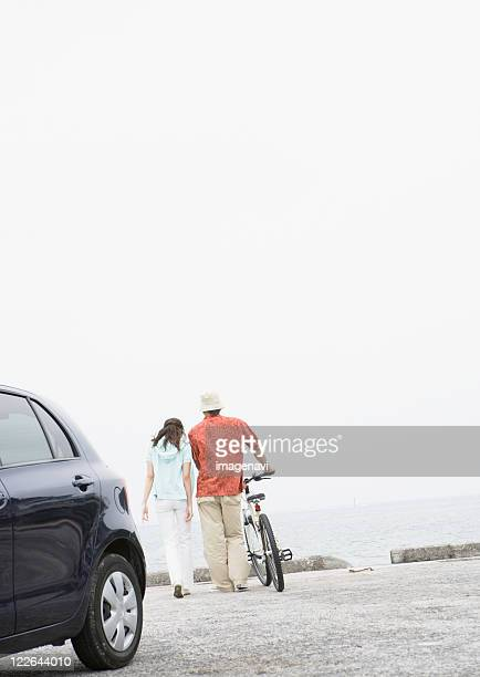 Couple taking a walk at a seaside