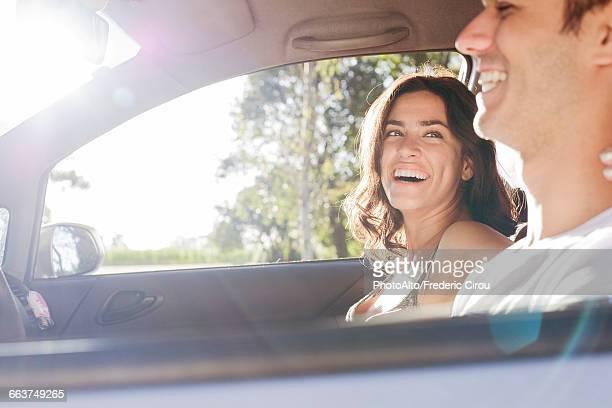 Couple taking road trip