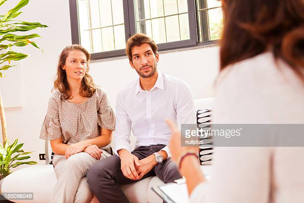 couple talking to their psychologist
