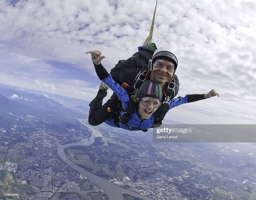 couple tandem skydiving : Stock Photo