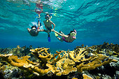 Couple teaching son (8-10) to snorkel over coral reef, underwater view