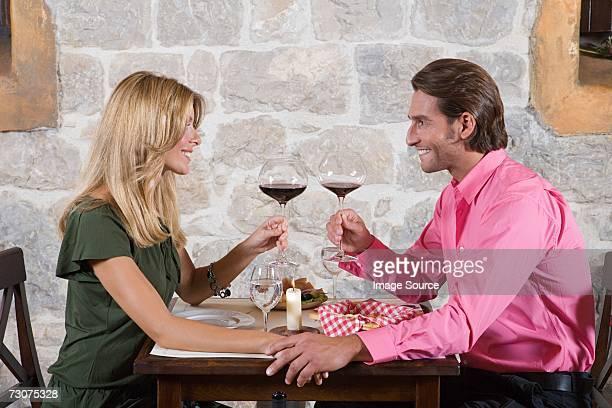 A couple toasting
