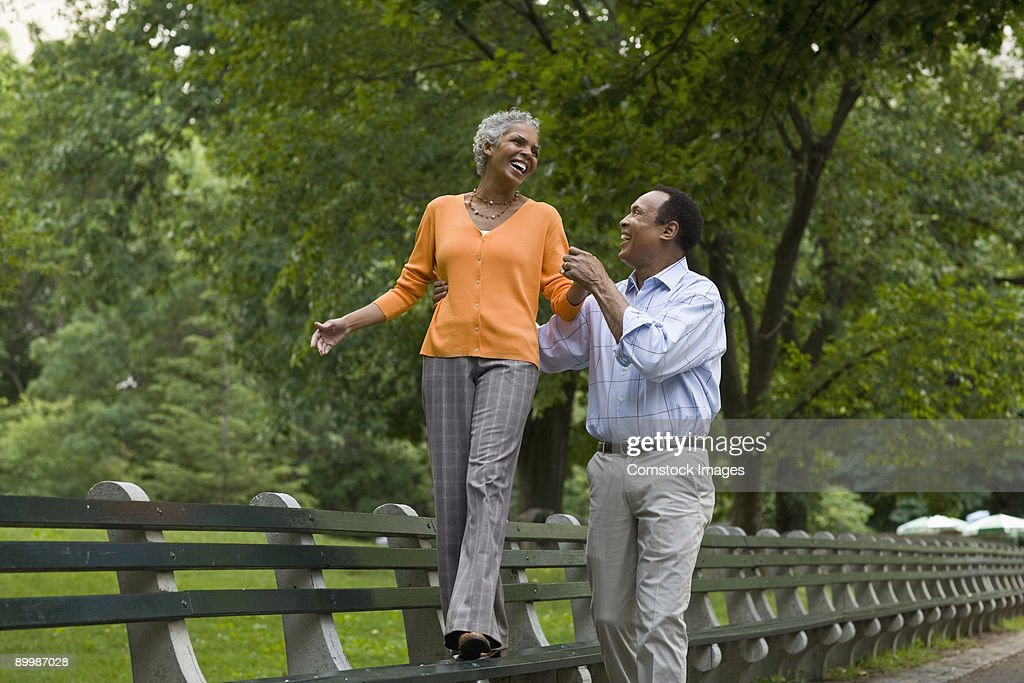 Couple together in Central Park : Stock Photo
