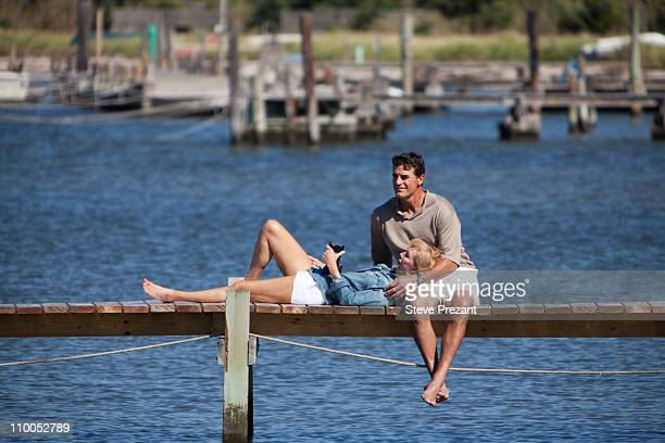 Couple together on dock