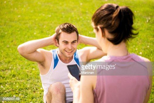Couple training together : Stock Photo