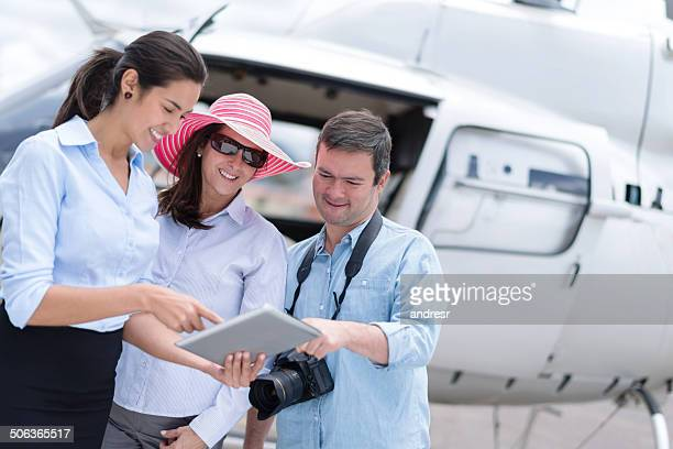 Couple traveling by helicopter