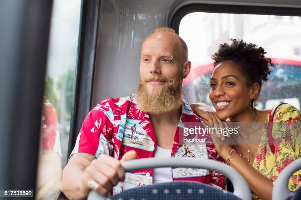 Couple traveling on a bus together