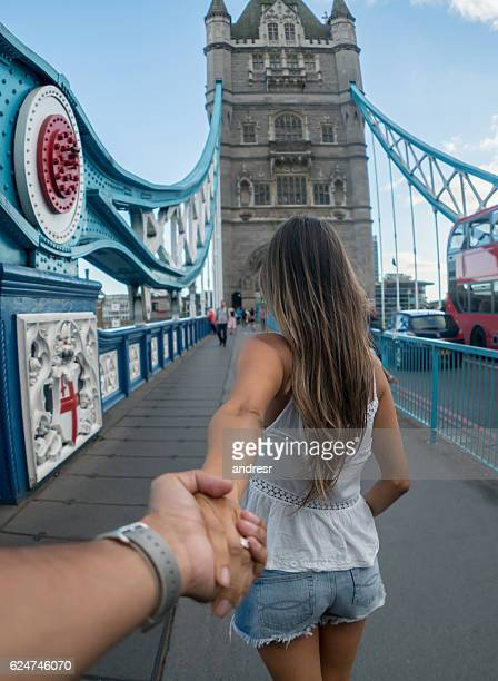 Couple traveling together in London
