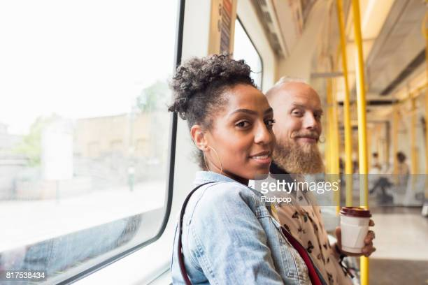 Couple traveling together on a train