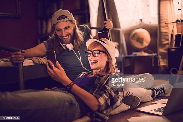 Couple using a phone