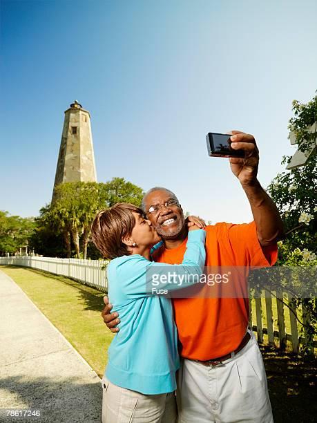 Couple Using Digital Camera
