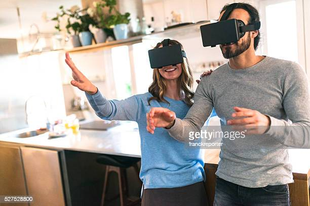 couple using the VR simulator at home