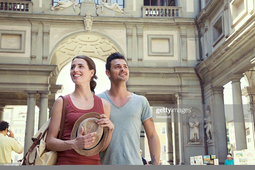 Couple visiting Uffizi Gallery, Florence, Tuscany, Italy
