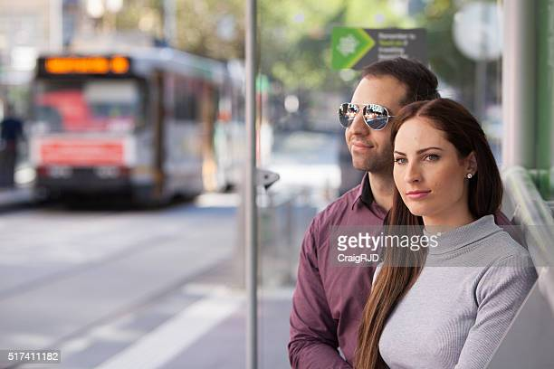 Couple Waiting for the Tram in Melbourne