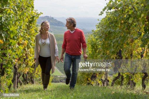 Couple walk between rows of grape vines, talking : Stock Photo