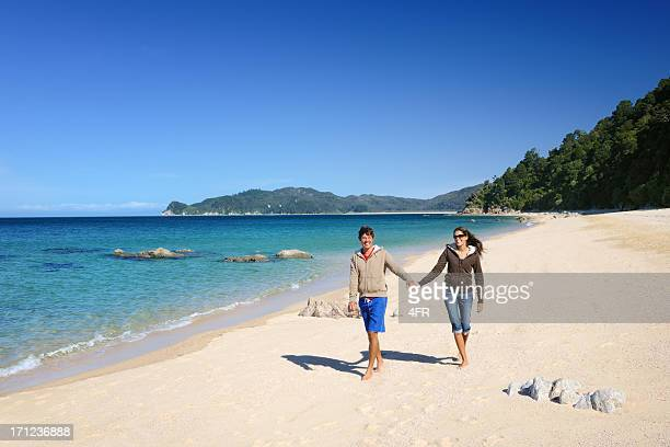 Couple walking down the Beach, Abel Tasman, New Zealand (XXXL)