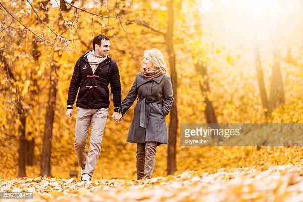 Couple walking in nature.
