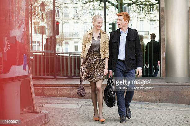 Couple walking on a footpath