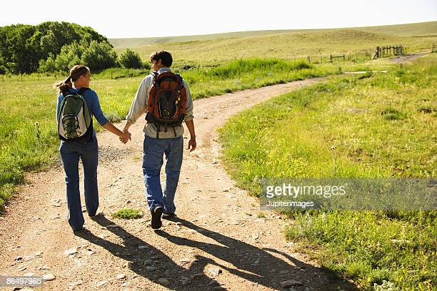 Couple walking on path