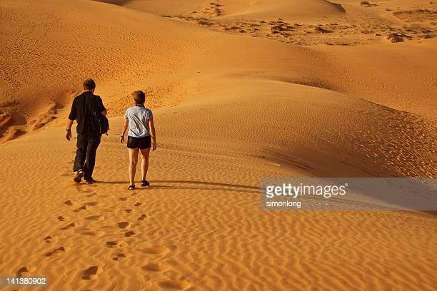 Couple walking on sand