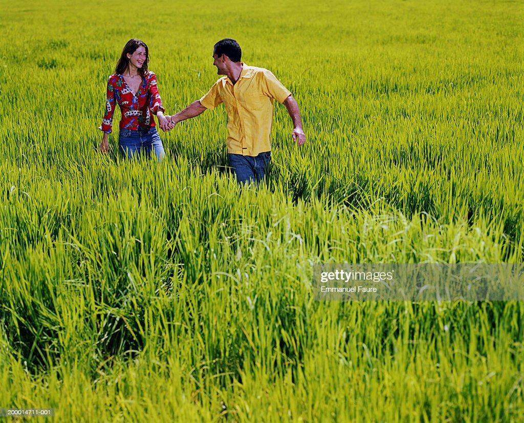 Couple walking through rice field : Stock Photo