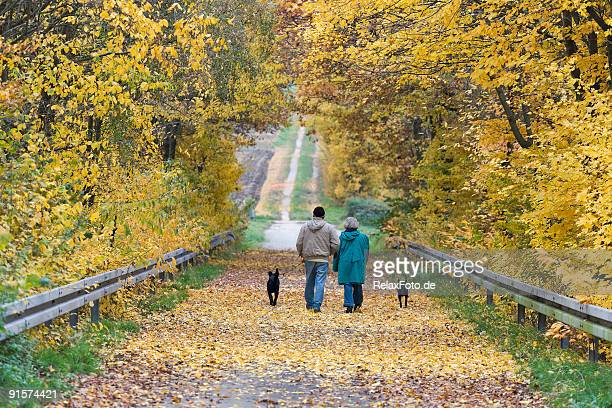 Couple walking with black dogs on treelined road in autumn