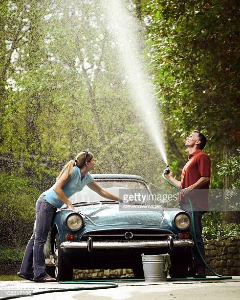 Paar Waschen Vintage Car