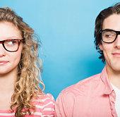 Couple wearing eyeglasses