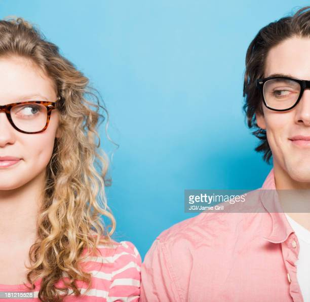 Couple wearing eyeglasses