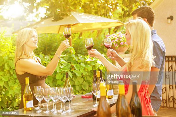 Couple Winetasting, Tasting Wine Country Winery Bottles Selection by Vineyard