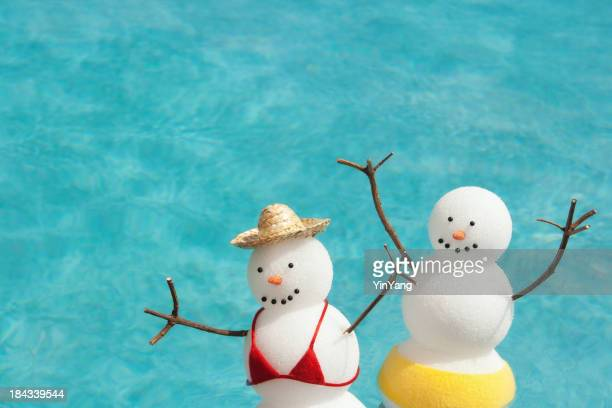 Couple Winter Vacation Enjoying Sunbathing in Tropical Hotel Resort Pool