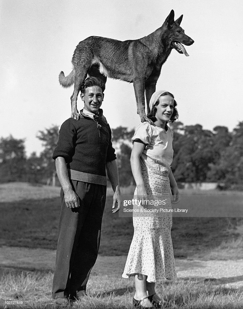 Couple with dog standing on their shoulders, 1910s. Couple with dog standing on their shoulders, c 1910s.