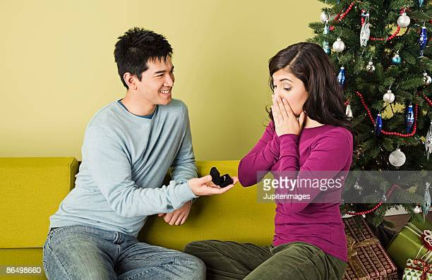 Couple with engagement ring