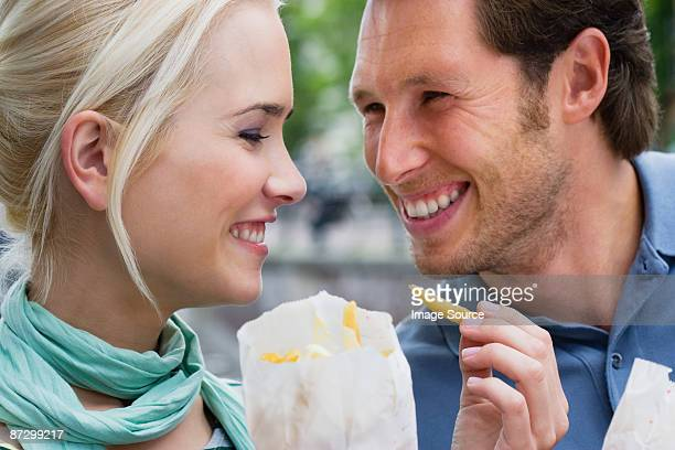 Couple with french fries