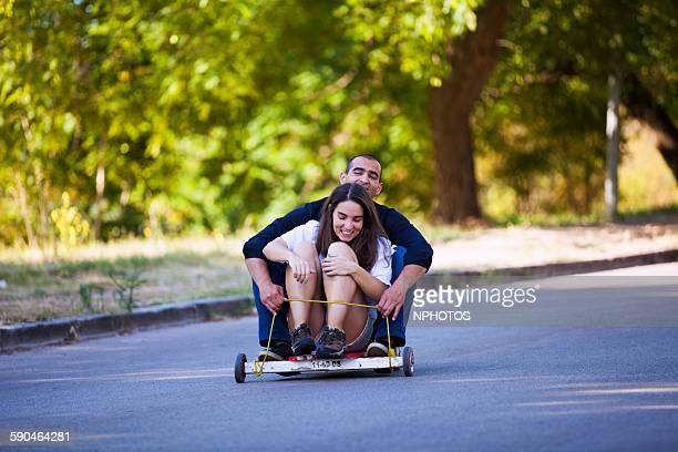 Couple with go-kart