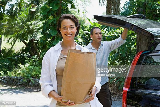 Couple with groceries